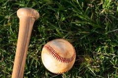 Béisbol y palo Imagenes de archivo