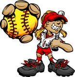 Béisbol y palo de la explotación agrícola del jugador de beísbol con pelota blanda del cabrito Fotografía de archivo libre de regalías