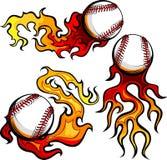 Béisboles con imágenes de las llamas Imagen de archivo libre de regalías