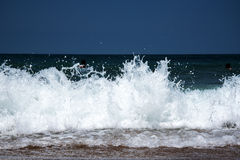Biscay wave. Wave splashing at bay of Biscay coast Stock Photos