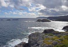 Biscayan Cove seascape, NL Canada. Landscape along the Killick Coast, Biscayan Cove seascape, Avalon Peninsula, NL Canada stock photo