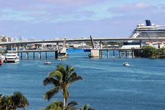 Biscayne Bay Bridges. View from Bayfront Park - Biscayne Bay Miami royalty free stock photo