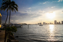 Biscayne Bay skyline. Biscayne Bay, Miami skyline and sun shining by the water stock image