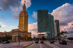 Biscayne Boulevard and the Freedom Tower at sunset in downtown M. Iami, Florida Stock Image