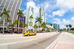 Biscayne Boulevard in Miami on a  summer day Royalty Free Stock Photos