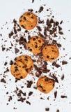 Biscoito amanteigado com chocolate em um fundo branco imagem de stock royalty free