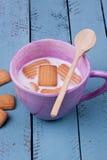 Biscoito e leite Imagens de Stock