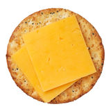 Biscoito inteiro e queijo do trigo, isolados no fundo branco Foto de Stock Royalty Free