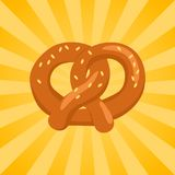 Biscoito torrado do pretzel cozido no formulário do ícone do nó ilustração royalty free