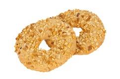 Biscoitos com as porcas isoladas Fotografia de Stock