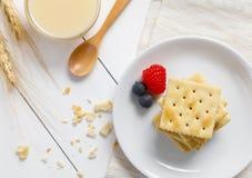 Biscoitos com leite condensado e fruto imagem de stock