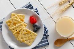 Biscoitos com leite condensado e fruto fotos de stock