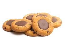 Biscoitos com o chocolate isolado imagens de stock
