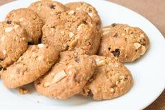 Biscoitos da farinha de aveia e de passa Fotografia de Stock Royalty Free