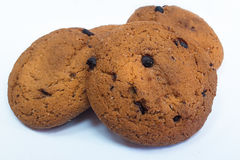 Biscoitos de farinha de aveia com pedaços de chocolate Close-up Imagens de Stock Royalty Free