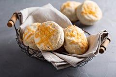 Biscoitos de soro de leite coalhado caseiros com queijo cheddar Fotografia de Stock
