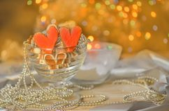 Biscoitos do dia do ` s do Valentim Cookie dada forma coração do Valentim imagem de stock royalty free