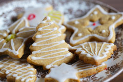 Biscoitos do Natal do pão-de-espécie com crosta de gelo do açúcar da cor foto de stock