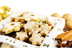 Biscoitos do Natal na placa Fotos de Stock Royalty Free