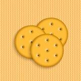 Biscoitos do vetor em fundo listrado Fotos de Stock
