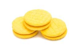 Biscoitos dobro amarelos do fruto isolados Imagem de Stock Royalty Free