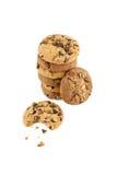 Biscoitos dos pedaços de chocolate em uma pilha Imagem de Stock