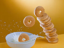 Biscoitos e leite para o pequeno almoço Foto de Stock Royalty Free