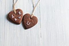 Biscoitos Handmade do chocolate da forma do coração Imagem de Stock