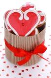 Biscoitos Heart-shaped para o dia dos Valentim imagem de stock