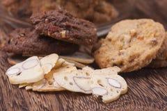 Biscoitos italianos, biscotti com amêndoa Fotografia de Stock