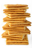 Biscoitos salgados no branco Foto de Stock