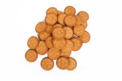 Biscoitos salgados no fundo branco Imagem de Stock Royalty Free
