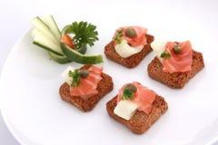 Biscoitos salmon fumados Foto de Stock Royalty Free