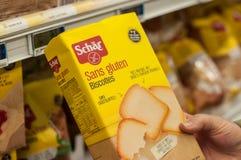 Biscoitos sem glúten no supermercado de Cora Fotografia de Stock