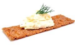 Biscote curruscante con queso cuajado Foto de archivo libre de regalías