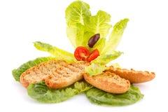 Biscottes avec des légumes Photo stock