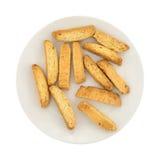 Biscotti гайки миндалины на взгляд сверху плиты Стоковое Фото