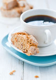 Biscotti. Fresh biscotti with black coffee Royalty Free Stock Images