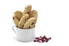 Biscotti. With dried cranberries and almonds Royalty Free Stock Photo