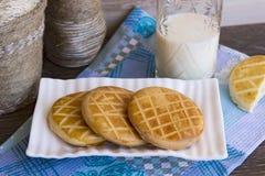 Biscotti al latte su un piatto bianco Fotografia Stock Libera da Diritti