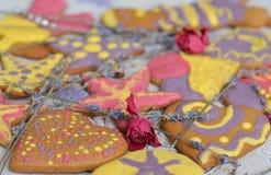 Biscotti allegri e variopinti del pan di zenzero Immagini Stock