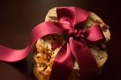 Biscotti. With almonds and cherries royalty free stock photos