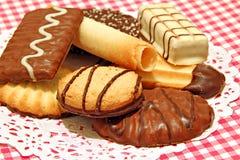 Biscotti belgi di lusso del cioccolato Fotografie Stock Libere da Diritti