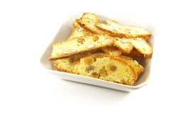 Biscotti Biscuits. Laid Out On a White Background stock images