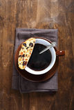 Biscotti with black coffee Stock Images