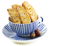 Biscotti in a blue cup. Stock Image