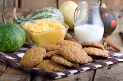 Biscotti casalinghi con la immersione della cannella della zucca Fotografie Stock