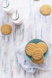 Biscotti casalinghi con latte immagini stock
