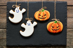 Biscotti casalinghi del pan di zenzero di Halloween Fotografia Stock