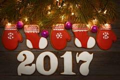 Biscotti casalinghi del pan di zenzero di Natale sulla tavola, nuovo anno Immagini Stock